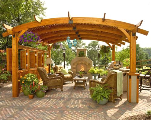 Sonoma Wooden Pergola 16′ x 16′ (Redwood / Mocha / Grey)